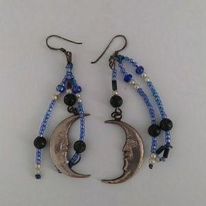 Hand Beaded Crescent Moon Earrings
